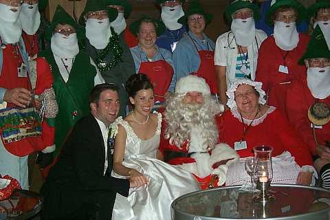 elves,  claus' with bride and groom